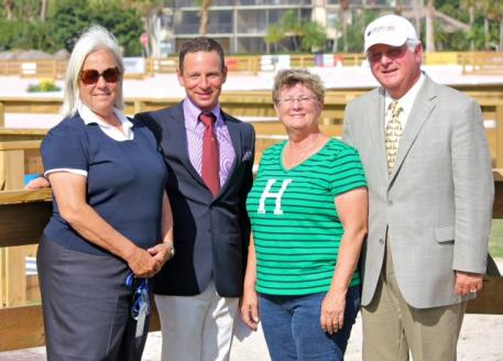 Linda Zang, David Marcus, Beth Haist, and Axel Steiner. David Marcus and his equine partner, Chrevi's Capital, were awarded the Turnout Award, sponsored by The Horse of Course, Inc., during the West Palm Beach 5* CDI.