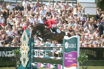 Marcus Ehning and Plot Blue jumped double-clear to help secure victory for Germany at the Furusiyya FEI Nations Cup™ Jumping series in Falsterbo, Sweden today.  Photo: FEI/Roland Thunholm.