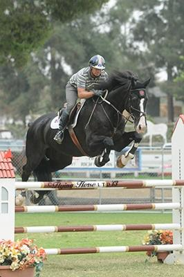 Mark Watring and Pinot H lay down the gauntlet in the ,500 Allon 1.35M Jumper Classic. Photo: Flying Horse Photography