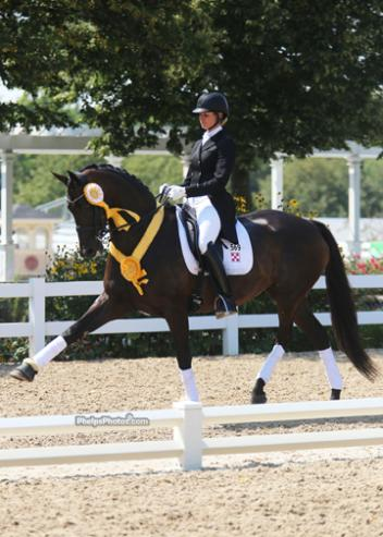 Silva Martin (Unionville, PA) and Rosa Cha W Syndicate's nine-year-old Warmblood mare finished in third place on an overall score of 69.724%. They scored 69.804% on Sunday. Photo:Mary Phelps
