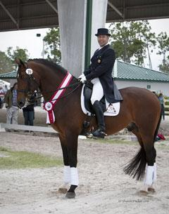 Colombian dressage rider Marco Bernal and Farewell IV were reserve champions in the Prix St. Georges class at the Wellington Classic Dressage Spring Challenge CDI. Bernal is sponsored by the National Colombian Coffee Federation, and proudly shows in a saddle pad featuring the federation's logo. (Photo courtesy of Sharon Packer)