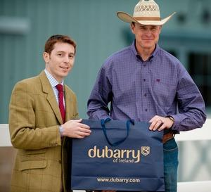 Sean McBurney (right) recieves his DuBarry boots from Danny Hulse of DuBarry.(Shannon Brinkman photo)