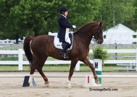 Leslie McDonald and Dauntless at the Majestic Farm Spring Dressage, Batavia, Ohio