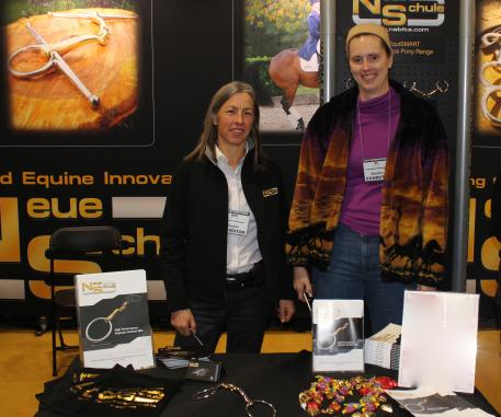 Mette Larsen (right) and Joy Pritchard of Metlar Premium Performance Saddlery.  Larsen will speak on bit design and function at the March 14 Lunch and Learn, sponsored by Neue Schule bits.