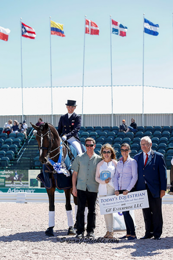 Mikala Munter Gundersen and My Lady with Allyn Mann of Adequan,  Dr. Diane Fellows of Today's Equestrian & GF Enterprise, LLC,  Cora Causemann of Equestrian Sport Productions,  and judge Dr. Wojtek Markowski  Photo: SusanJStickle