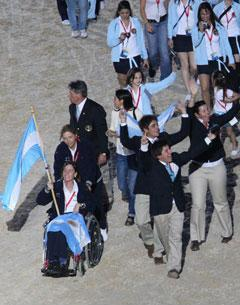 Argentinian Diana Moore carries the flag for her country at the Alltech/FEI World Equestrian Games
