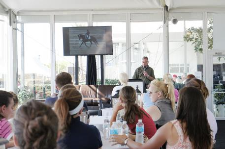 Dr. Rob van Wessum DVM MS gives a workshop on Dressage Training and the Horses Muscles in Wellington, Florida  Photo: Betsy LaBelle