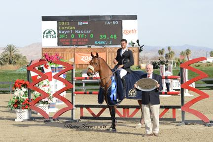 HITS Senior Vice President Tony Hitchcock presents Nayel Nassar and Lordan with top honors, including a Horze Equestrian cooler, after the ,500 FEI HITS Desert Classic, presented by Zoetis. ©Flying Horse Photography
