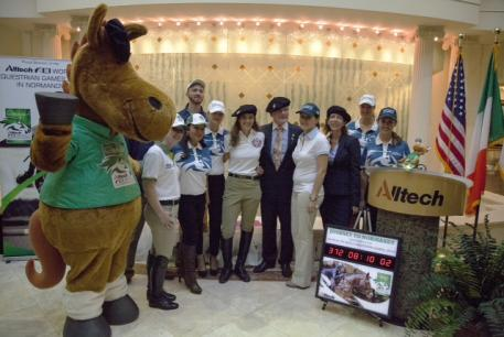 Dr. Pearse Lyons, president and founder of Alltech, celebrates the one year countdown to the Alltech FEI World Equestrian Games 2014 in Normandy with Alltech employees at the company's headquarters in Lexington, KY.