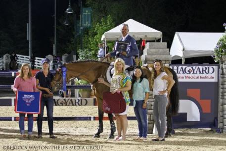 Pablo Barrios won Thursday's ,000 Hagyard Lexington Classic with Zara Leandra at the Kentucky Spring Horse Shows, and currently leads the 2014 Hagyard Challenge Series. Photo By: Rebecca Walton/PMG.