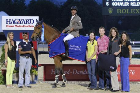 Pablo Barrios won Thursday's ,000 Hagyard Lexington Classic with Zara Leandra at the Kentucky Spring Horse Shows, and currently leads the 2013 Hagyard Challenge Series. Photo: Rebecca Walton/PMG.
