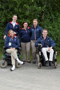 The BritisGreat Britain team members Anne Dunham, Sophie Christiansen, Natasha Baker and Sophie Wells, and Individual competitor Ricky Balshaw. (Photo: FEI/Kit Houghton)