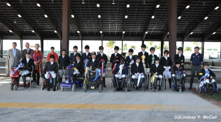 Para-Equestrian Dressage athletes at the Adequan Global Dressage Festival CPEDI3* March 15, 2014. Photo includes Canada and USA and their Chef d'Equipes Kai Handt (USA) and Elizabeth Quigg (CAN). Photo by Lindsay McCall.