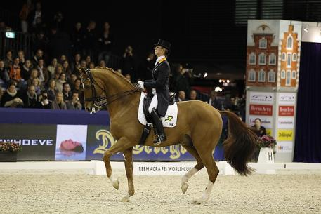 Defending series champions, Adelinde Cornelissen and Jerich Parzival (NED), scored a back-to-back double when winning today's seventh leg of the Reem Acra FEI World Cup™ (Photo: FEI/DigiShots)