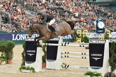 French rider, Patrice Delaveau, secured his second victory in the Longines FEI World Cup™ Jumping Western European League 2013/2014 series with a great performance from the stallion Lacrimoso HDC at Leipzig, Germany today.  Photo: FEI/Karl-Heinz Freiler.