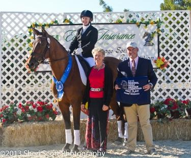 Pauline Muntzer returns to the show ring in style and wins both the RAAC Training Level Test 3 Novice and the RAAC First Level Test 3 Novice (Photo: Sheri Scott)