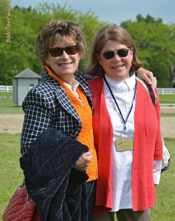 """The always fashionable and travel ready Dressage Judges Janet Foy and Lois Yukens enjoy a moment """"out of the box"""" at the 2013 Kentucky Dressage Association Spring CDI Photo: BobTarr.com"""