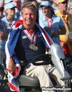 Great Brittian's multiple Gold medallist Lee Pearson in closing ceremonies at the Alltech/FEI World Equestrian Games
