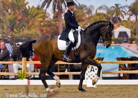 With the backdrop of the beautiful Rancho Valencia in the Steffen Peters and Legolas put in their winning Grand Prix Freestyle ride. (Photo: terrimiller.com)