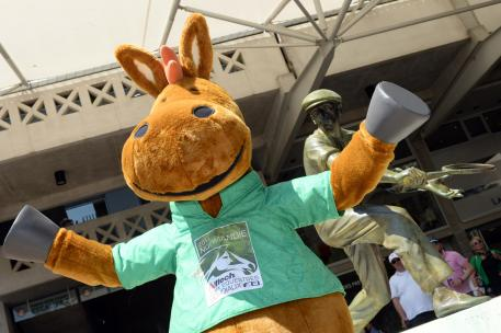 Norman, the Games' mascot, mingled with the crowds at Roland Garros and struck a pose in the Place des Mousquetaires.
