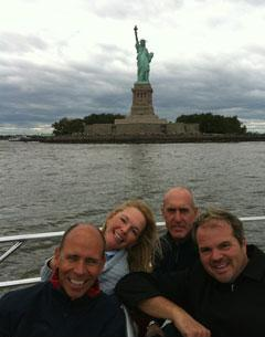 Steffen Peters. Katherine Bateson Chandler, Pierre St. Jacques, and Todd Flettrich enjoy a day trip to the Statue of Liberty