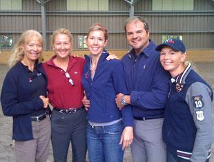 At the USET Dressage team training sessions Courtney (center) joins Anne gribbons, Tina Konyot, Todd Flettrich and Katherine Bateson Chandler