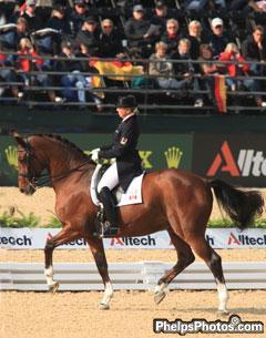 Bonny Bonnello and Pikardi perform the passage during the Grand Prix Special at the Alltech/FEI World Equestrian Games, Kentucky 2010