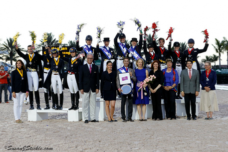 The podium awards for the team medals at the 2014 CDIO Nations Cup  Photo: SusanJStickle
