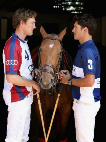 (L-R) Captain of the UK polo team Luke Tomlinson and Captain of the USA polo team Nic Roldan are seen ahead of the Westchester Cup on July 5, 2013 in Windsor, England. (Photo Chris Jackson/Getty Images for Audi)