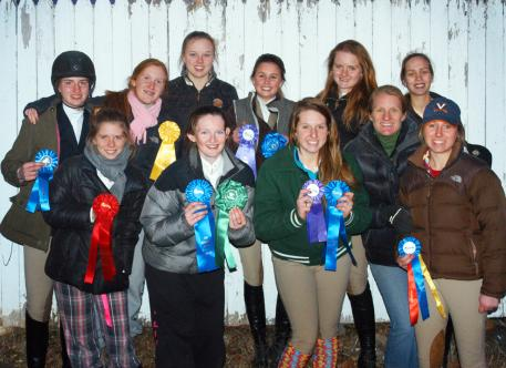 Foxcroft School's Riding Team qualified Sunday for the InterscholasticEquestrian Association Zone 3, Regional 2 finals, to be held in Middleburg on Feb.5. Celebrating their fine performance at the Madeira School IEA qualifying meet are (back row, left to right): Annabelle Boendermaker, Miranda Gali, Tessa Paget-Brown, DeeDee Querolo, Hannah Galeone, Miranda Kinsella; (front row, l-r) Mary Shannon Snellings, Olivia Gotwald, Allie Dietz, Ridiing Director Kate Worsham, and Mckenzie Canard.