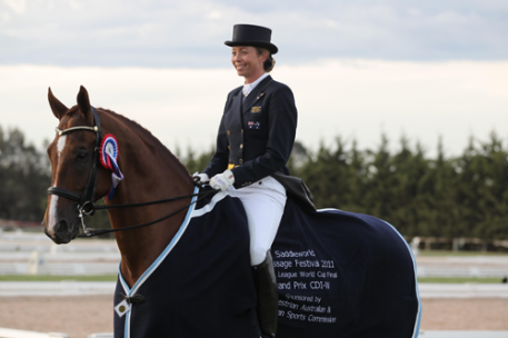 Australia's Rachael Sanna has earned a place at the Reem Acra FEI World Cup™ Dressage Final in 's-Hertogenbosch, The Netherlands in April following her victory, riding Jaybee Alabaster, at the Asia/Pacific FEI World Cup™ Dressage Final in Werribee, Australia last month. (Photo: Derek O'Leary)