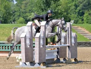 Rebecca Clawson and Freeport jump to a win in the $1,500 Platinum Performance Hunter Prix at HITS Saugerties. ©ESI Photography