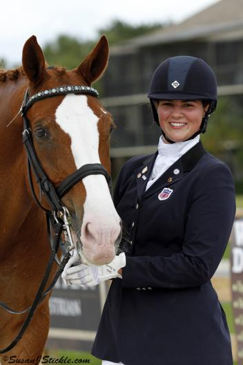Rebecca Cohen and Downtown, aka 'Daddy,' took home the blue in the Junior Team Test and the Junior Individual Test during the Global Dressage Nations Cup National Show. (Photo: SusanJStickle.com)