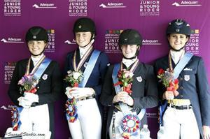 Dressage Young Rider Team Gold Medalists from Region 7: Teresa Adams, Ariel Thomas, Jamie Pestana, and Jaclyn Pepper (Photo: SusanJStickle.com)