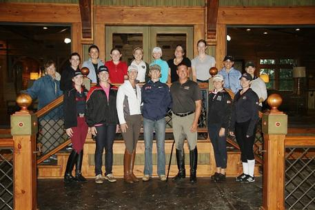 The whole group of twelve riders, the coaches and the Workshop presenters at the Courtney Dye Horsemastership Clinic 2013 Photo: Richard Malmgren