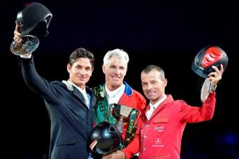 Photo Caption:  America's Rich Fellers (centre) returns to the defend his title at the Rolex FEI World Cup™ Jumping 2012/2013 Final in Gothenburg, Sweden next week with the great stallion Flexible. He is pictured on the podium after victory at last season's Rolex Final alongside Switzerland's Steve Guerdat (left) who finished in runner-up spot and Pius Schwizer (right) who slotted into third place.