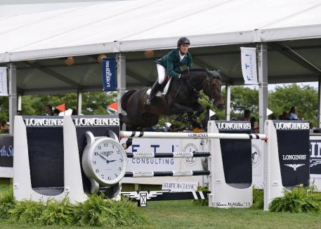 Richie Moloney guided Carrabis Z to victory in the ,000 Longines Cup at the Hampton Classic. (Shawn McMillen photo)