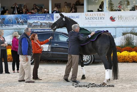 Rocher and George Williams at her retirement ceremony at the 2013 Dressage at Devon (Photo: SusanJStickle.com)