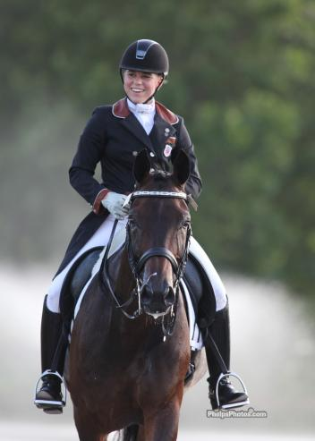 "Brandi Roenick and ""Magic"" after their third and winning ride at the 2012 North American Young Riders' Championships.