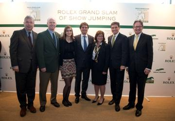 From L to R: Mr Alban Poudret (CSI Geneva), Mr Ian Allison (CSIO Spruce Meadows), Mrs Sophie Mottu Morel (CSI Geneva), Mr Arnaud Boetsch (Director of Communication and Image Rolex), Mrs Linda Southern-Heathcott (CSIO Spruce Meadows), Mr Michael Mronz (CHIO Aachen/President of the Steering Committee for the Rolex Grand Slam of Show Jumping), Mr Frank Kemperman (CHIO Aachen/Chairman Managing Board) © Rolex/Kit Houghton