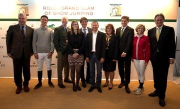 From L to R: Mr Alban Poudret (CSI Geneva), Mr Steve Guerdat, Mr Ian Allison (CSIO Spruce Meadows), Mrs Sophie Mottu Morel (CSI Geneva), Mr Arnaud Boetsch (Director of Communication and Image Rolex), Mr Eric Lamaze, Mrs Linda Southern-Heathcott (CSIO Spruce Meadows), Mr Michael Mronz (CHIO Aachen/President of the Steering Committee for the Rolex Grand Slam of Show Jumping), Mrs Meredith Michaels-Beerbaum, Mr Frank Kemperman (CHIO Aachen/Chairman Managing Board) © Rolex/Kit Houghton