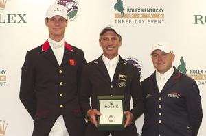 (From left) William Fox-Pitt, Andrew Nicholson and Buck Davidson claimed the top four places at the Rolex Kentucky Three-Day Event, Presented by Land Rover. (Michelle Dunn photo)