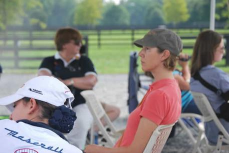 Courtney Dye watching a rider Photo: Rosie Simoes