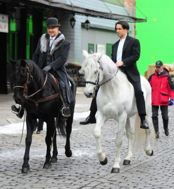Rex Peterson sticks clost to Russell Crowe and Colin Farrell during the filming of A Winter's Tale in New York City