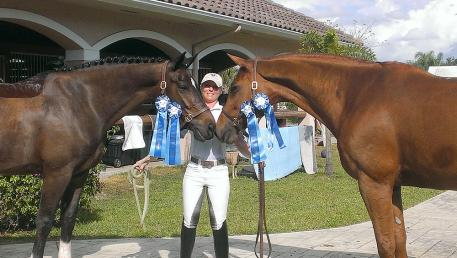 Sara Spofford with Armante, 8 yr old KWPN mare (Contango/Welt Hit II) owned by Natalie Miller and Lagrima, 12 yr old Baden-Wurttemburg mare (Lanthano/Tolstoi) owned by Sara.