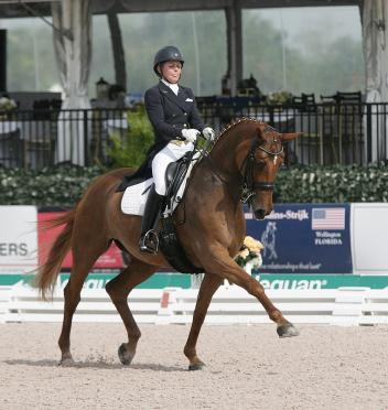 Sara Spofford about her own Lagrima competing in the Small Tour CDIs at the Global Dressage Festival Photo: Betsy LaBelle