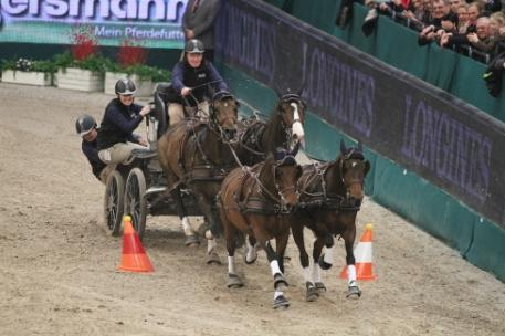 Daniel Schneiders (GER) and his four-in-hand team on their way to victory in the last qualifier of the FEI World Cup™ Driving 2013/2014. Photo Rinaldo de Craen/FEI