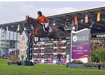 Gerco Schroder produced the only double-clear performance of the competition to help The Netherlands to victory in the Mercedes Benz Prize, part of the Furusiyya FEI Nations Cup™ Jumping 2013 series at Aachen, Germany tonight. Photo: FEI/Kate Houghton.