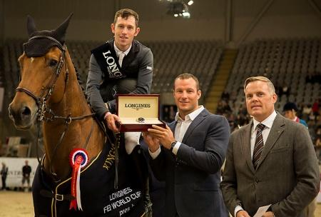 Great Britain's Scott Brash and Hello Sanctos won the opening leg of the Longines FEI World Cup™ Jumping Western European League at Oslo, Norway today.  They are pictured at the prize presentation with Longines ambassador Aksel Lund Svindal and Morten Thormodsen. Brand Manager and Sales Representative for Longines, Norway. Photo: FEI/Roger Svalsroed.