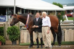 Scott Stewart and Concept are honored as Grand Hunter Champions by Lake Placid Horse Show Chairman Richard Feldman
